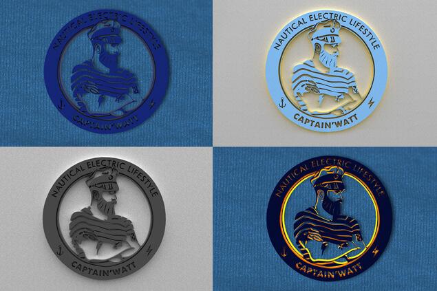 Déclinaisons couleur du logo de Captain'Watt en 3D